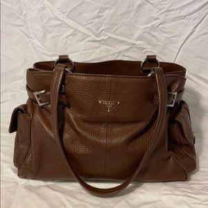 Authentic Prada brown leather tote purse